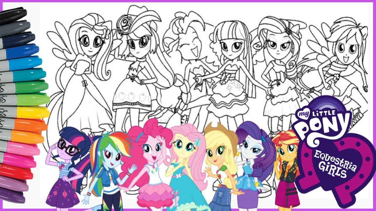 Coloring My Little Pony All Equestria Girls Compilation Mewarnai Kuda Poni Compilation Youtube
