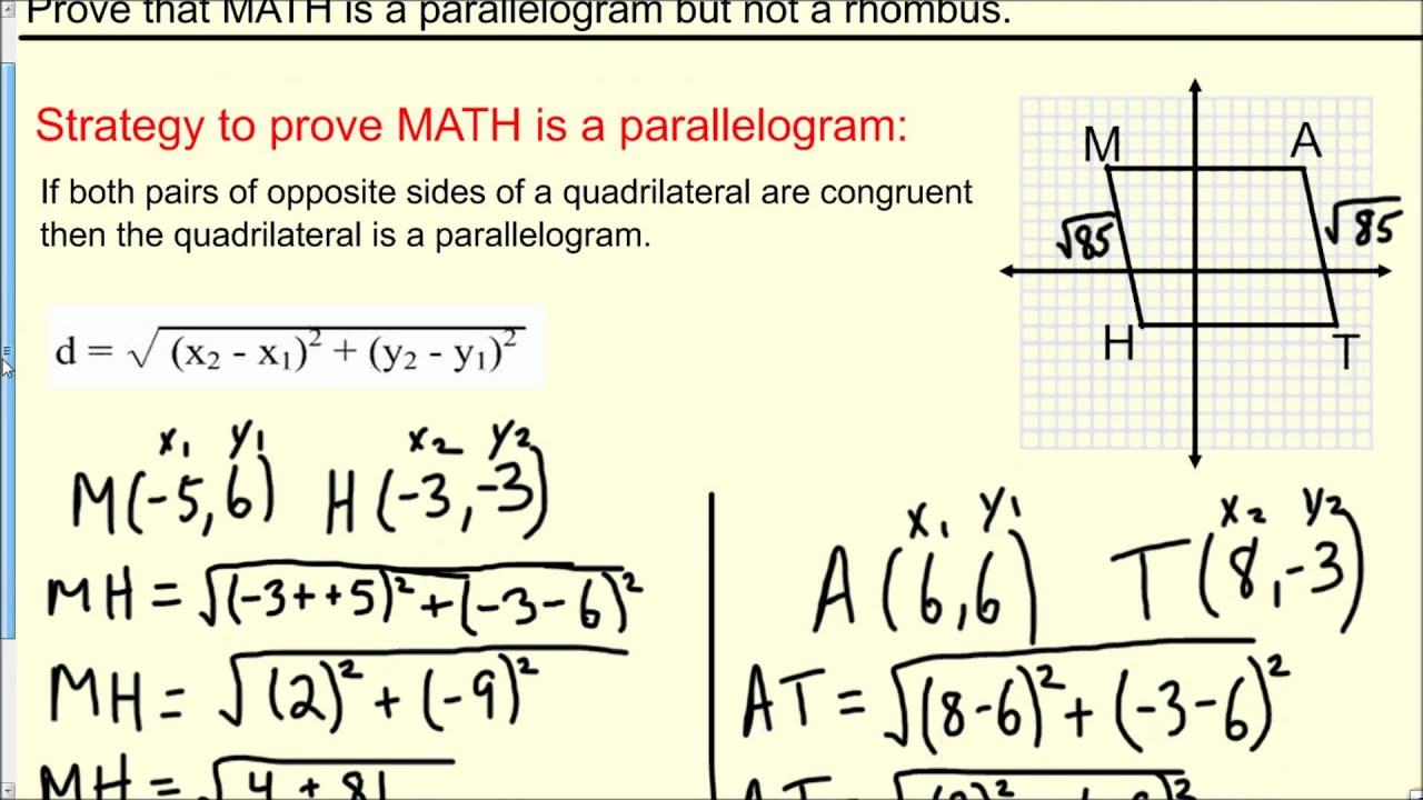 Proving A Quadrilateral Is A Parallelogram But Not A Rhombus Geometry  Determines That How To Find