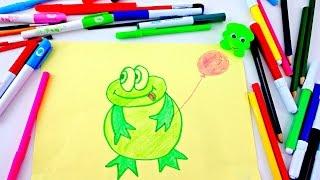 Обучающее видео! Учимся рисовать лягушонка