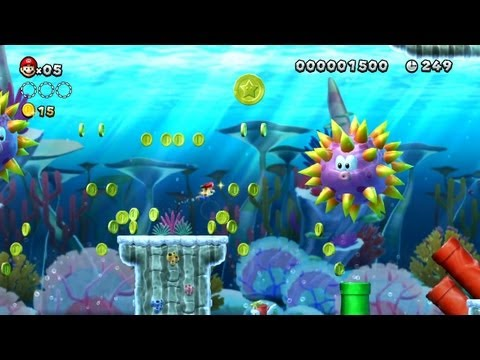 New Super Mario Bros. U - Sparkling Waters-2 - Second Star Coin (Wii U)