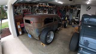 All Aluminum Supercharged 540 in a 1928 Ford Ratrod Sedan Running in the garage.