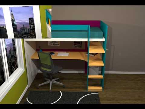 Litera con mesa de estudio y quitamiedos youtube - Mesas de estudio ...