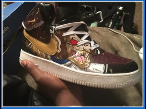 Custom Nike Airforce 1s Blackberry Gold Splatter Dragonball Z Edition Part 1