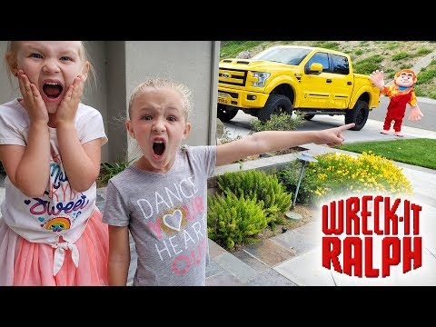 Wreck It Ralph Comes To My House In Real Life! Tonka Crushes Stuff!! |