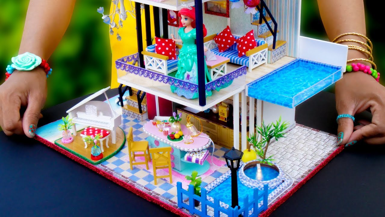 Diy Miniature Dollhouse With Swimming Pool Ariel Room Decor Youtube