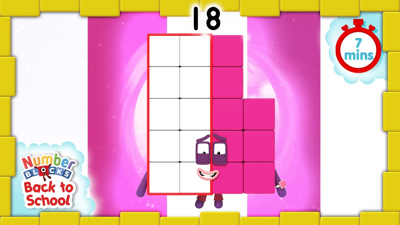 BacktoSchool - Numberblocks Level Three | All the Best Eighteen Moments |  Learn How to Count - YouTube