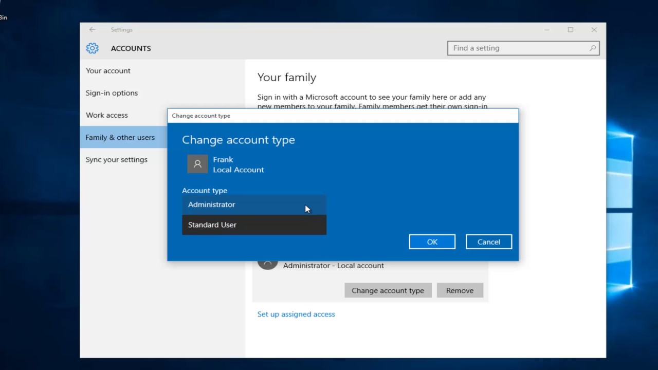 how to give admin rights to user in windows 10