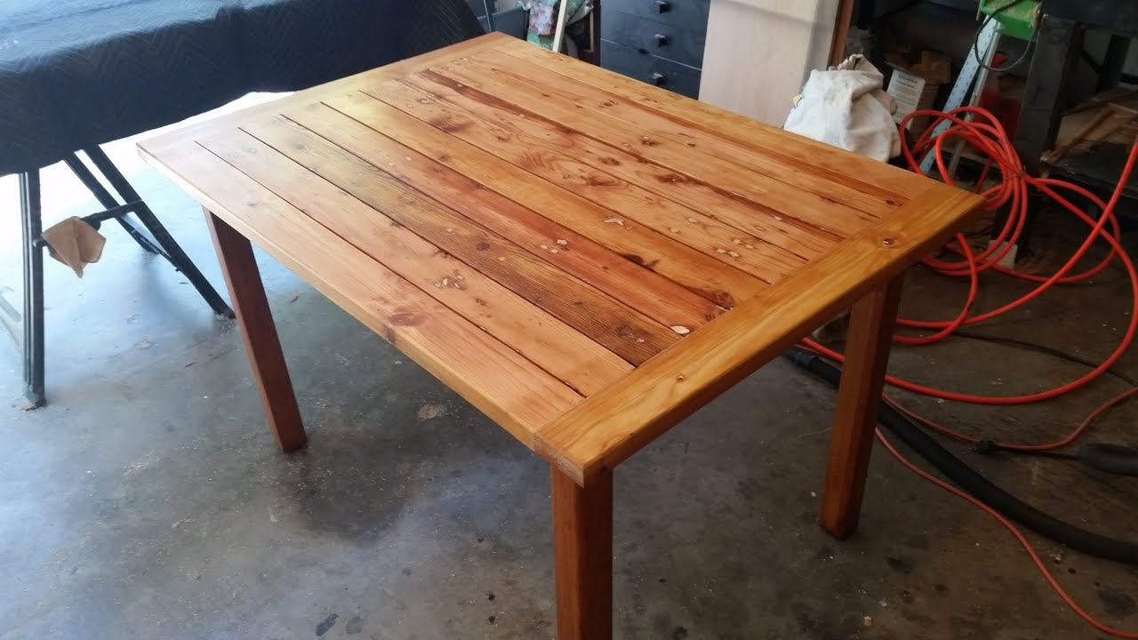 Amazing photo of  table made from scrap wood great patio table easy to make   with #7C3722 color and 2048x1152 pixels