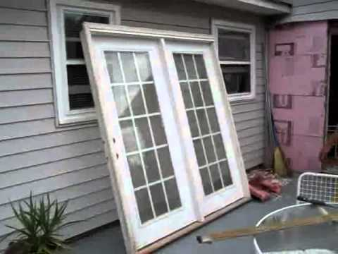 Installing french doors before and after not a how to for Sliding glass door to french door
