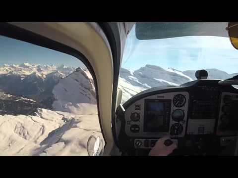 Flight over the Swiss Alps (Basel-Sion-Basel) VFR PPL student pilot Tecnam P2008JC