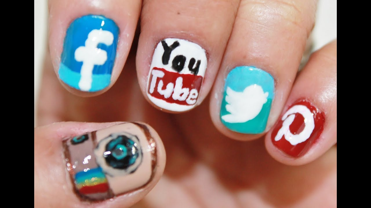 Phone Apps Nail Art (Social Network Nail) - YouTube