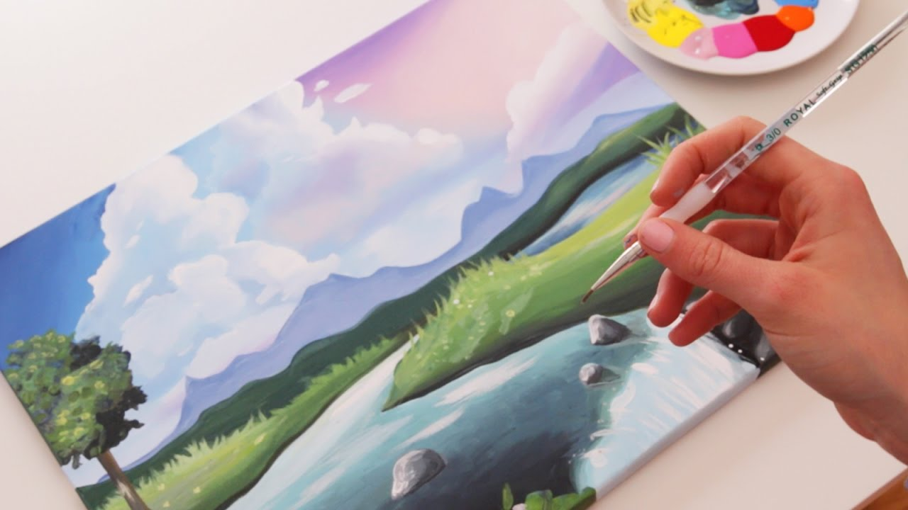 How To Paint A Cute Landscape Youtube