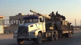 Syria: Syrian Army convoy heads to Idlib frontline Subscribe to our channel! rupt.ly/subscribe More Syrian Arab Army (SAA) troops were seen heading towards the frontline with Idlib province in north-western ...