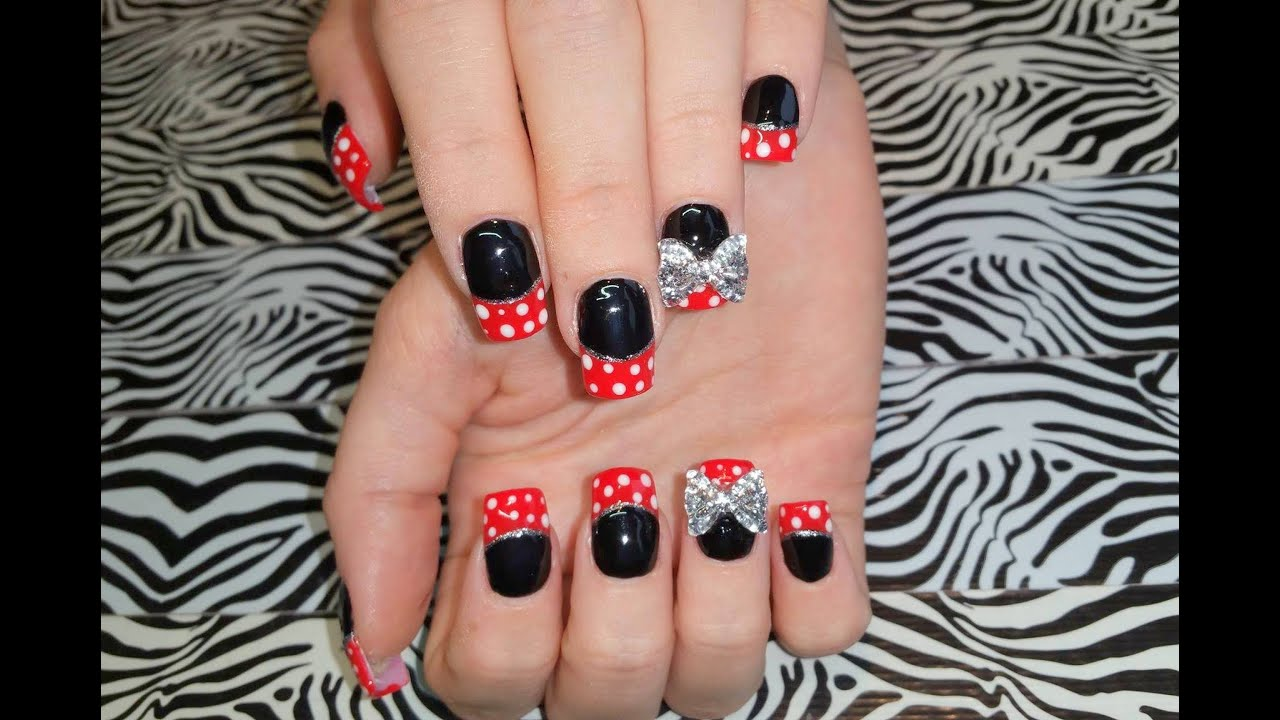 Acrylic Nails l New Set l Black & Red French l Polka Dot Nail Design ...