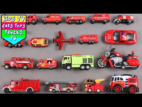 Learn Fire Department Vehicles For Kids Children Babies Toddlers With Fire Engine Ladder Truck Van