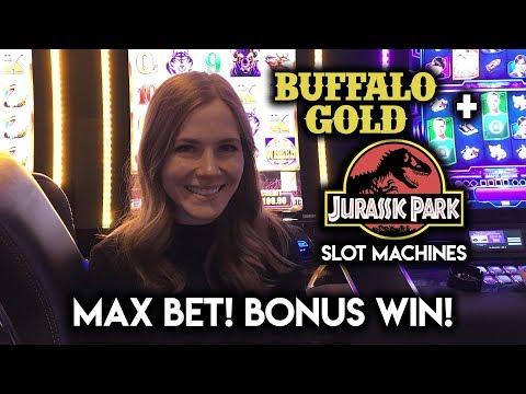 Max Bet! Buffalo Grand Bonus WIN!!! Jurassic Park T-REX Chase Bonus!!!