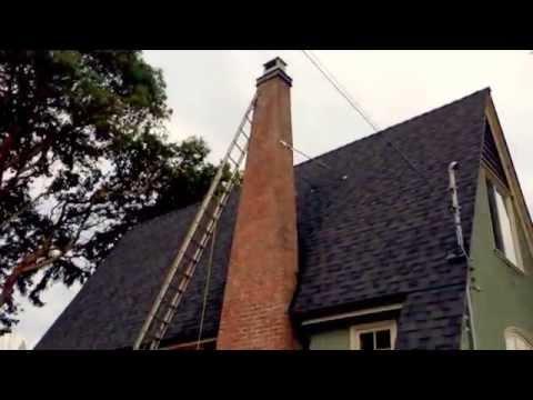 Metal Chimney Braces on Tall Masonry Brick Stack, Flue Guru Victoria BC