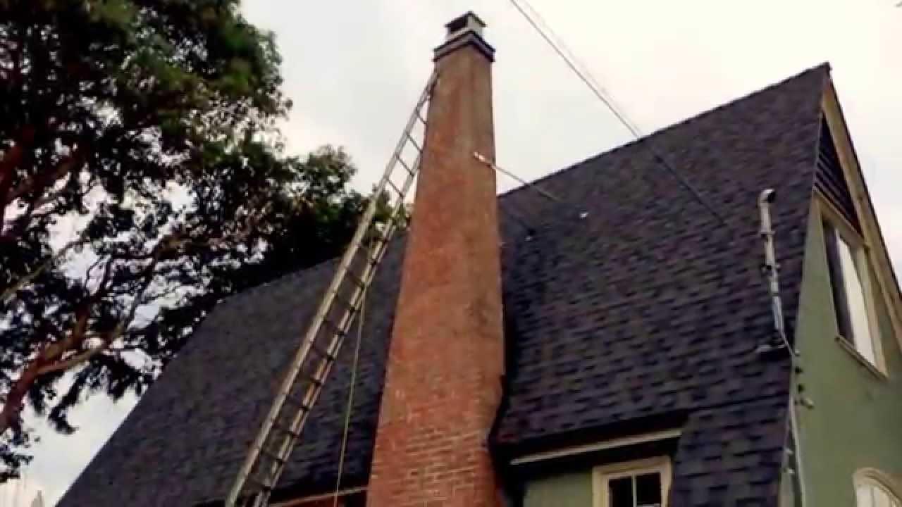 How to remove a chimney - Metal Chimney Braces On Tall Masonry Brick Stack Flue Guru Victoria Bc Youtube