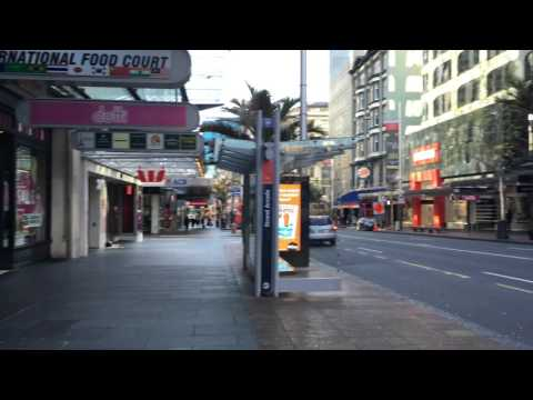 4K 48 minutes walk thru Auckland Queen Street, Myers Park, the Wharf during boat show