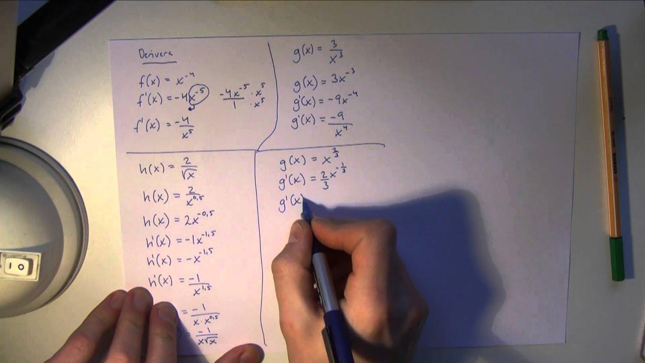 Matematik 3c - Uppgifter och lösningar till deriveringsregler samt tangent och dess ekvation m.m.