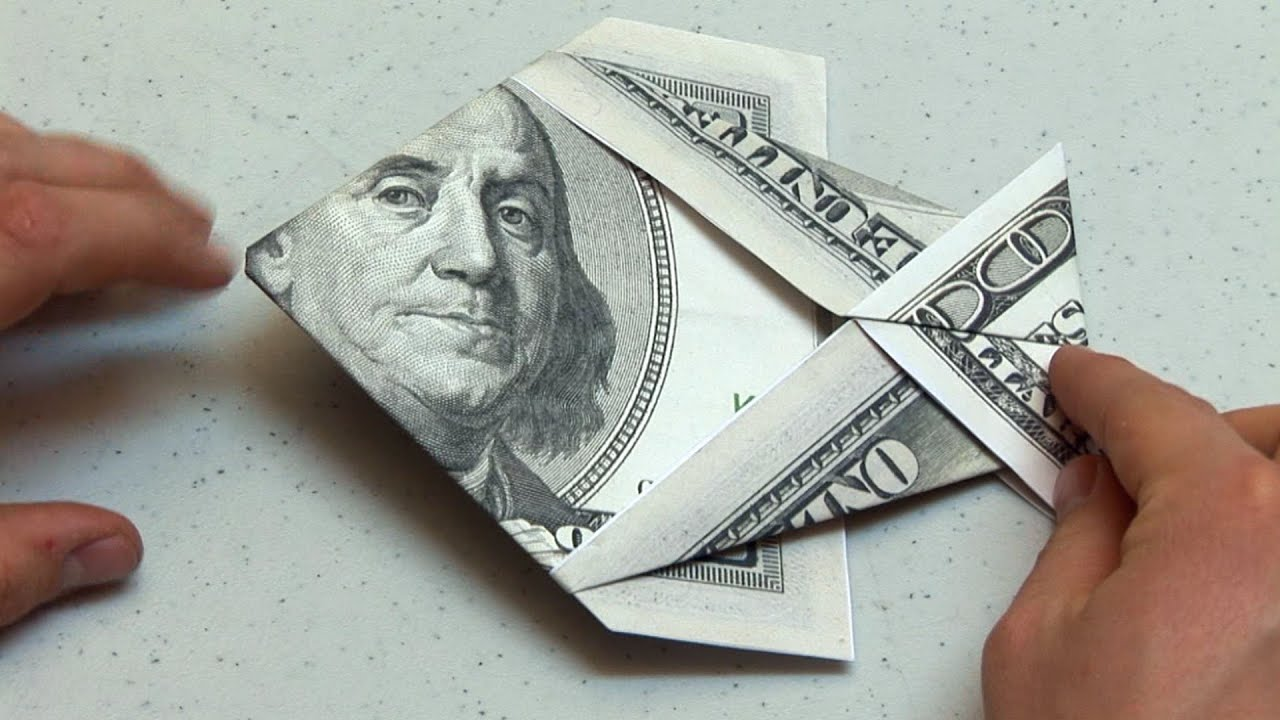 Easy Origami Dollar Bill Money Fish Instructions - YouTube - photo#2