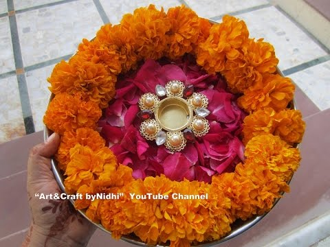 Quick pooja aarti thaali plate decoration using fresh rose for Aarti thali decoration with flowers