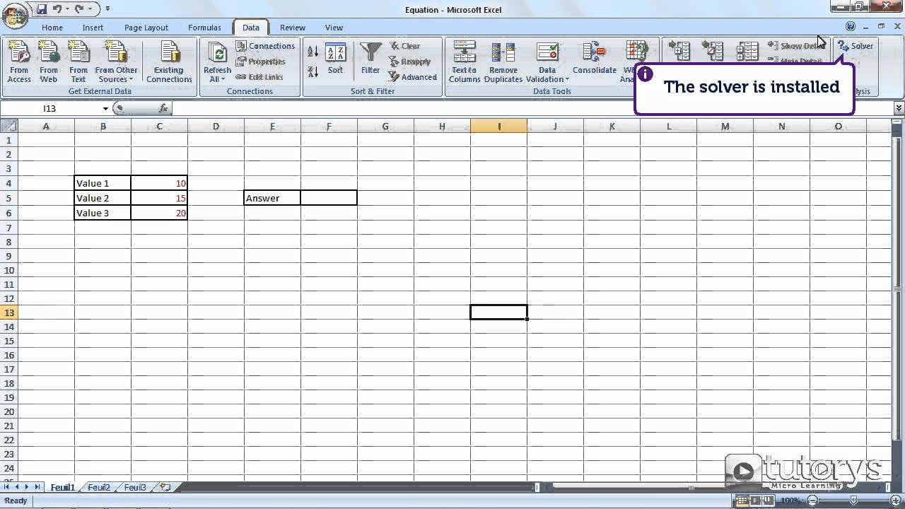 How to use the equation solver with Excel 20