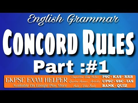 English Grammar - Concord Rules 1 - Previous Question Answer Kerala  PSC Coaching Class Malayalam#