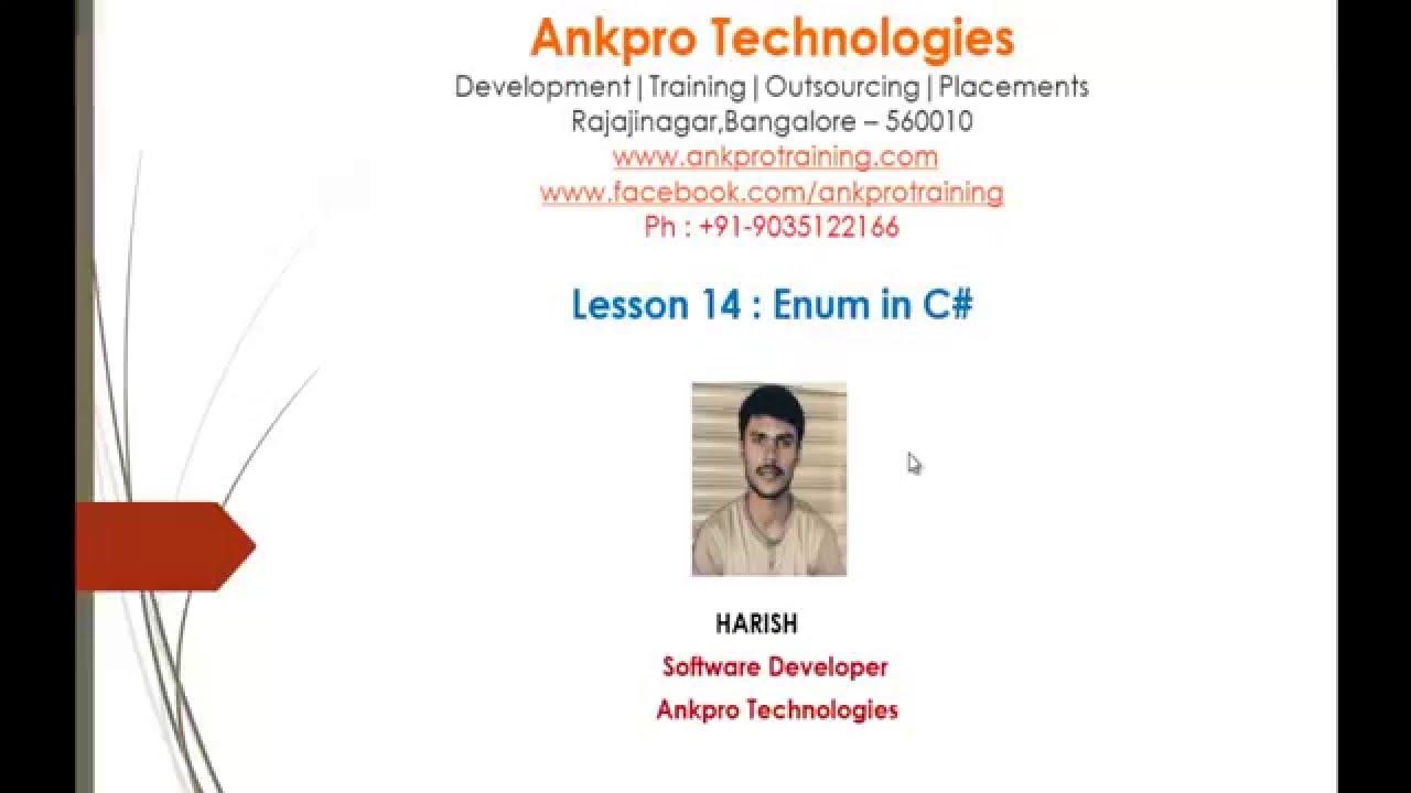 C# Beginner to advanced - Lesson 14 - Enum