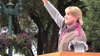 First Kristoff character appearance in Frozen Summer Fun Royal Welcome parade at Walt Disney World