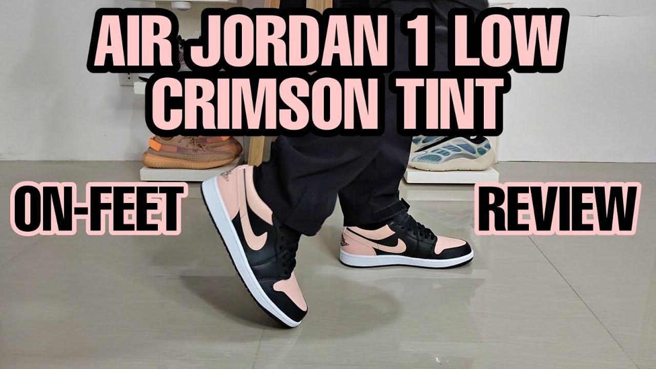 AIR JORDAN 1 LOW CRIMSON TINT | ON - FEET REVIEW - YouTube