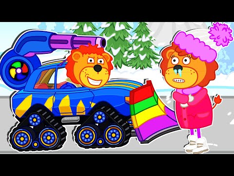 Lion Family Official Channel | Rainbow Car 2 | Cartoon For Kids