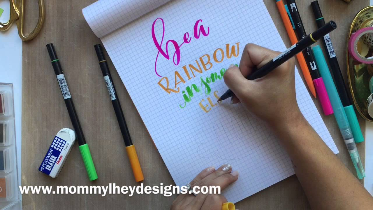 real time hand lettering using tombow dual brush pens youtube