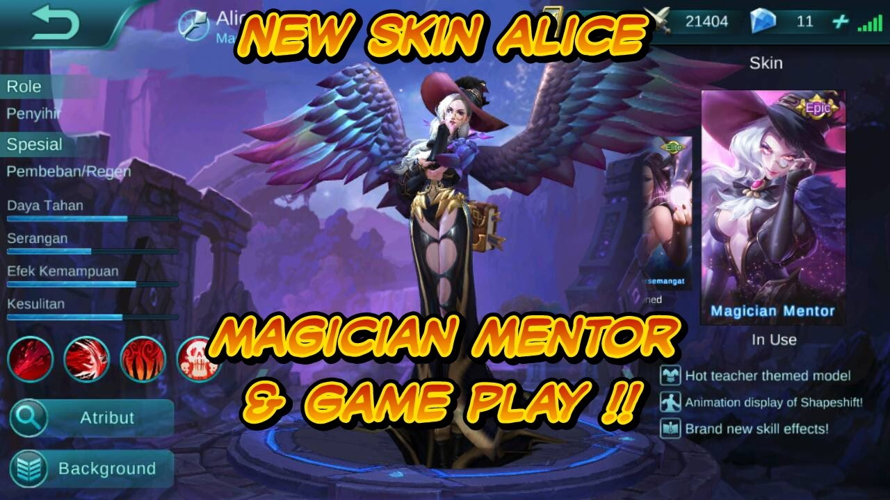 mobile legend : new skin alice magician mentor & game play