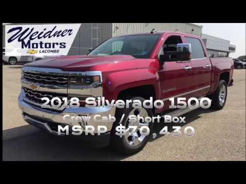 Red 2018 Chevrolet Silverado 1500 Crew Cab, Short Box / 1LZ, 4X4 / 18n250. Weidner Motors Ltd.