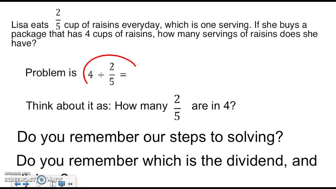 Dividing Whole Numbers By Nonunit Fractions