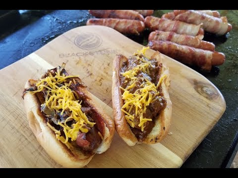 Bacon Wrapped Hot Dogs On The Blackstone Griddle