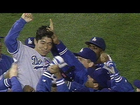 Hideo Nomo hurls a no-hitter against the Rockies in 1996
