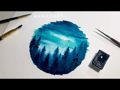 Simple Watercolor Forest Circle Tutorial for Beginners
