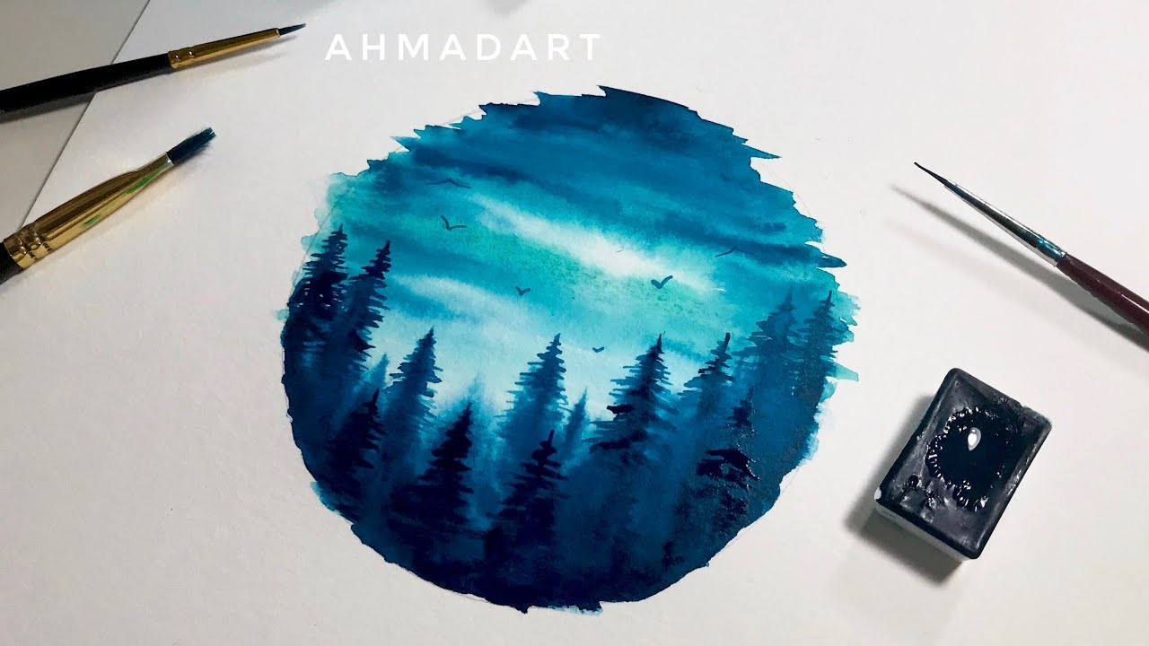 simple watercolor forest circle