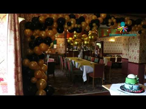 Black and gold 60th birthday party balloon decorations - Bakewell, Derbyshire