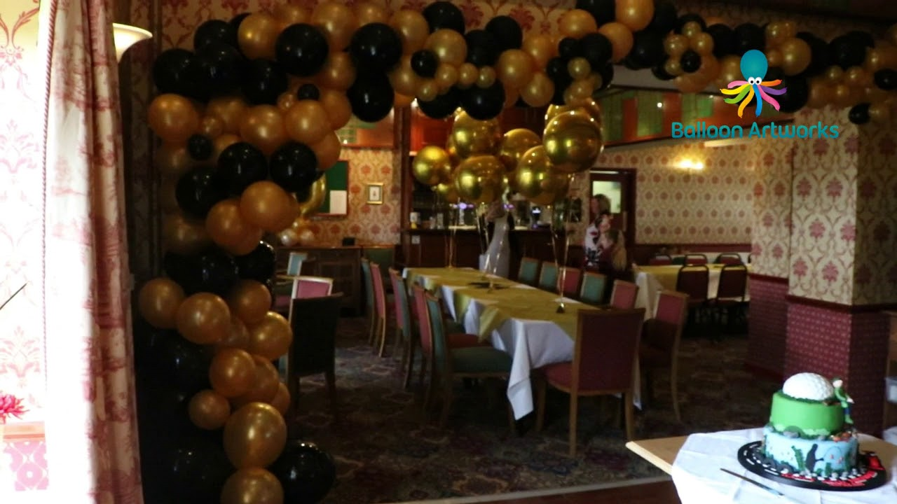 Black And Gold 60th Birthday Party Balloon Decorations Bakewell