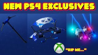 EXCLUSIVE NEW FORTNITE PS4 PICKAXE, GLIDER AND CONTRAIL *IN-GAME SHOWCASE*