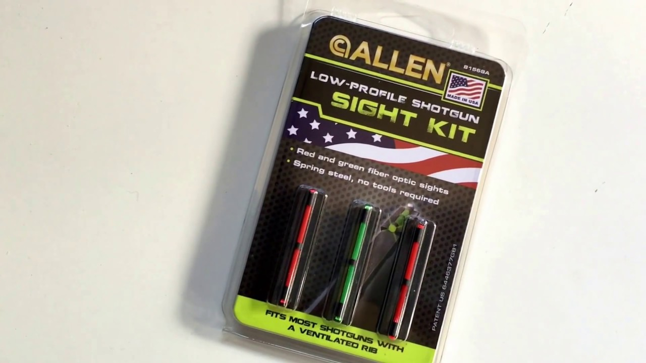 Allen Low Profile Shotgun Sight Kit Review - Fiber Optic Sights - Clip On -  Winchester Remington +++