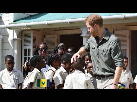 Prince Harry shakes his hips to steel band in St Vincent