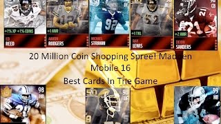 20 Million Coin Shopping Spree! Gameplay! Best Cards in The Game! Madden Mobile 16