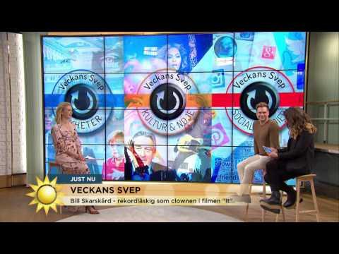 """Bill Skarsgård- rekordläskig som clownen i filmen """"It"""" - Nyhetsmorgon (TV4)"""