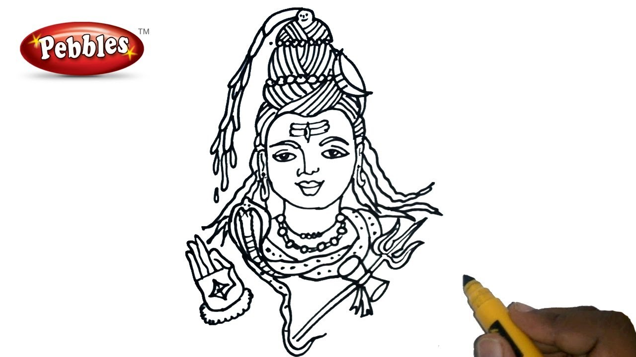 How to draw lord shiva step by step for kids easy drawings for beginners drawing for children