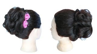messy bun for party || hairstyle with gown & lehenga || juda hairstyle | hairstyle | cute hairstyles