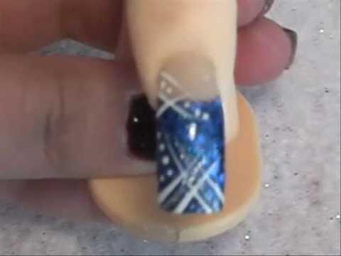 blue diamond acrylic nail design  youtube